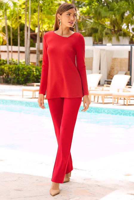 Beyond travel™ asymmetric cutout long sleeve top image