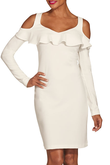 Beyond travel™ cold shoulder ruffle long sleeve dress image
