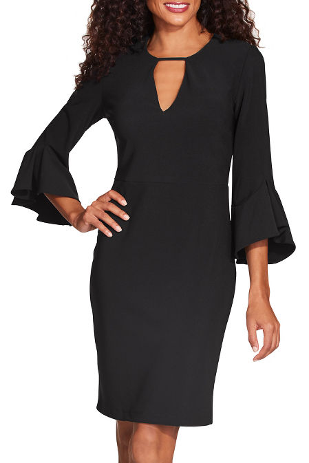 Beyond travel™ keyhole flare sleeve dress image