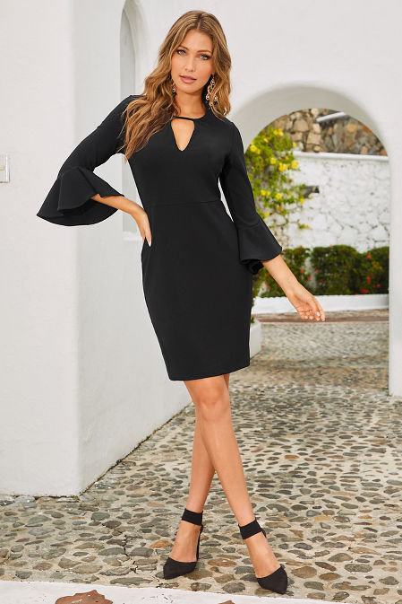 Beyond travel™ keyhole flare sleeve dress image