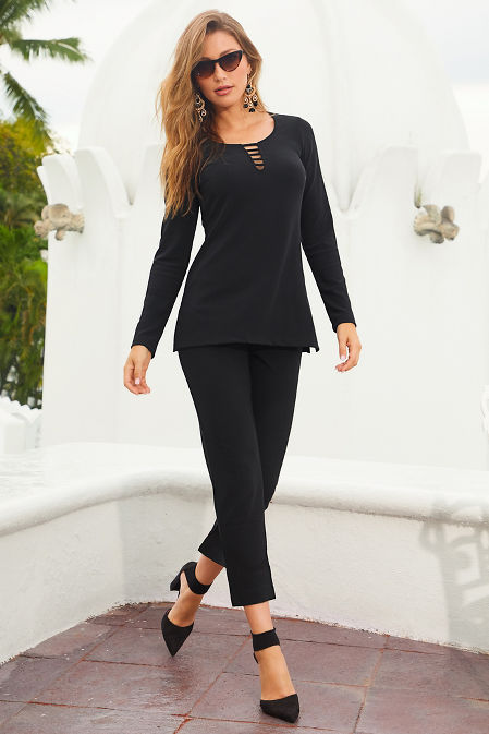 Beyond travel™ neck detail long sleeve top image