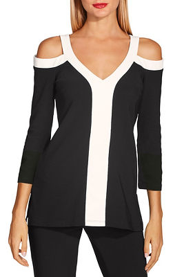 2933b2bf5783e Beyond travel™ cold shoulder colorblock v neck top
