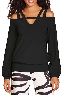 Beyond travel™ keyhole strappy cold shoulder top