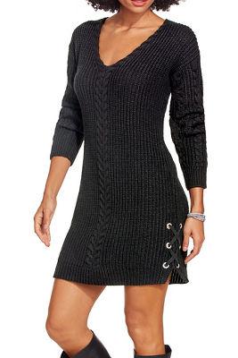 grommet lace up sweater dress