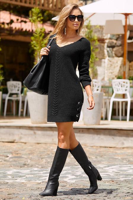 Grommet lace up sweater dress image