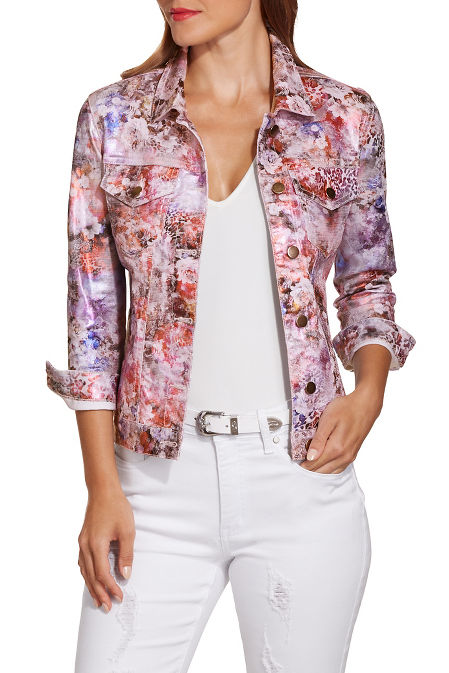 Metallic floral denim jacket image