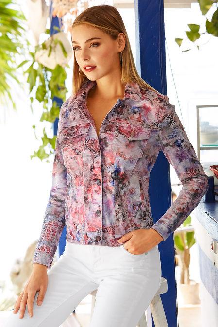 Metallic floral denim jacket image