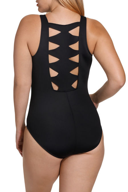 Cutout zip up one piece swimsuit image