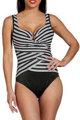 Geometric stripe one piece swimsuit