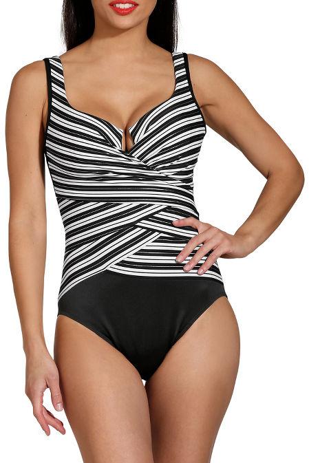 Geometric stripe one piece swimsuit image