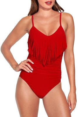 Fringe overlay one piece swimsuit