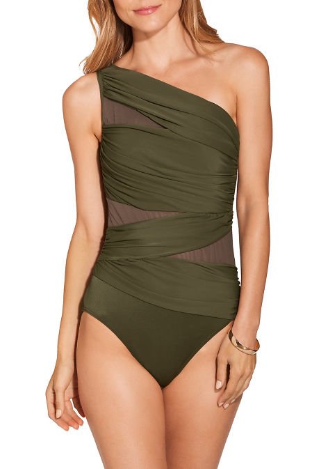 One shoulder ruched one piece swimsuit image