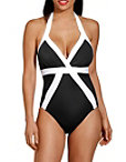 Colorblock Halter One Piece Swimsuit Photo