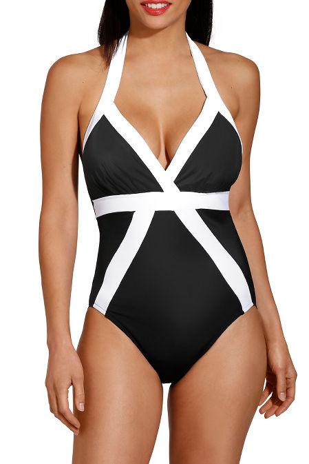 Colorblock halter one piece swimsuit image
