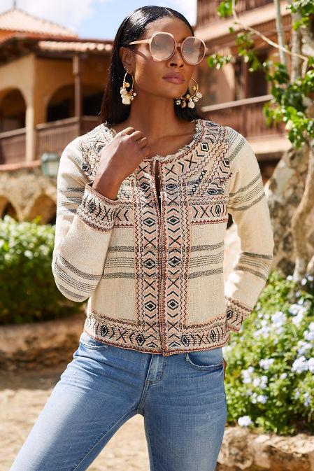 Embroidered frayed jacket image