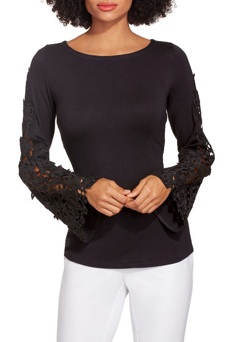 Lace bell sleeve boat neck top image