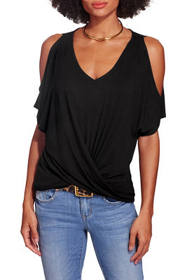 Twist front cold shoulder v neck top