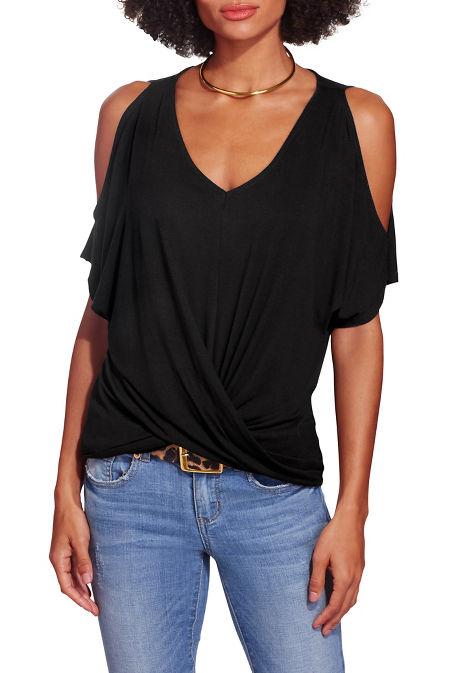 Twist front cold shoulder v neck top image