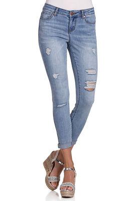 Skinny distressed ankle jean