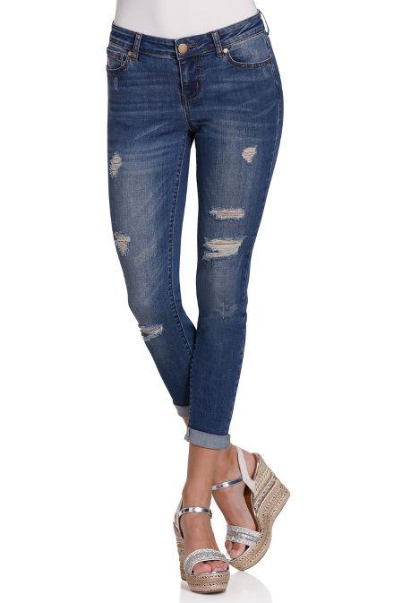 Skinny distressed ankle jean image