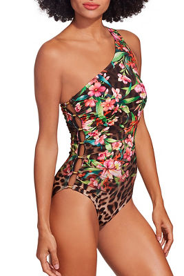 One shoulder leopard floral one piece swimsuit