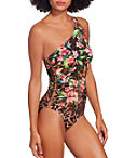 One Shoulder Leopard Floral One Piece Swimsuit Photo