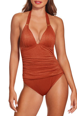 Halter Lurex one piece swimsuit