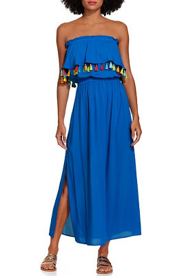 Strapless tassel cover up