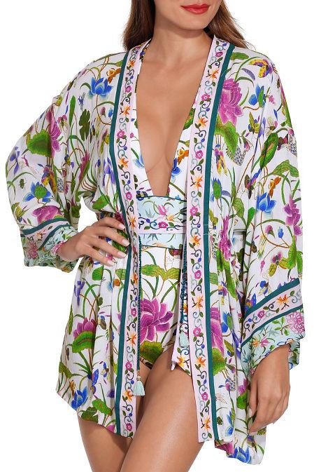 Garden floral kimono image