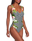 Striped Floral Cage One Piece Swimsuit Photo
