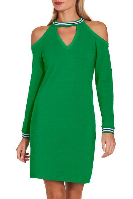 Cold shoulder v neck sweatshirt dress image