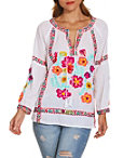 Colorful Embroidered Peasant Blouse Photo