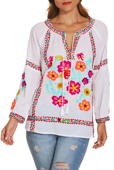 Colorful embroidered peasant blouse image