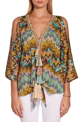 colorful zigzag tassel blouse