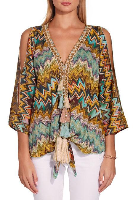 Colorful zigzag tassel blouse image
