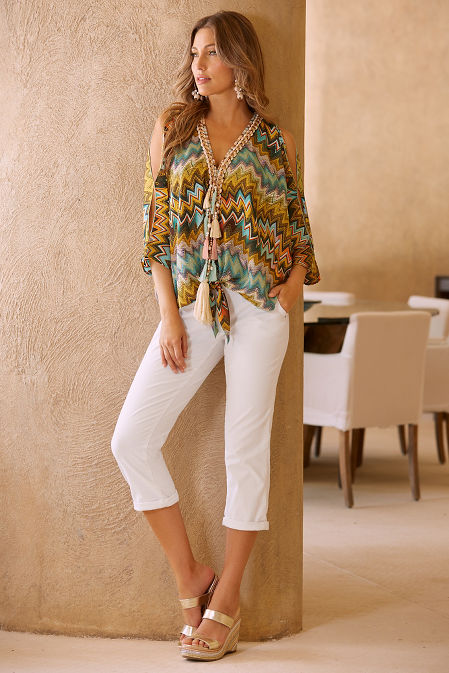 Colorful zigzag tassel blouse image