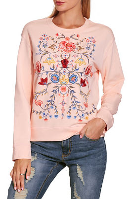 Embroidered floral sweatshirt