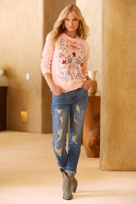 Embroidered floral sweatshirt image