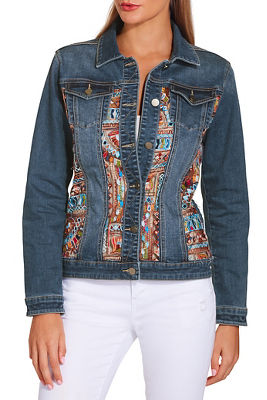 Display product reviews for Embroidered illusion denim jacket