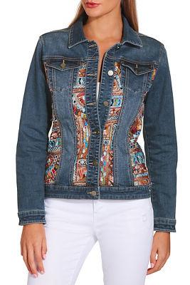 Embroidered illusion denim jacket