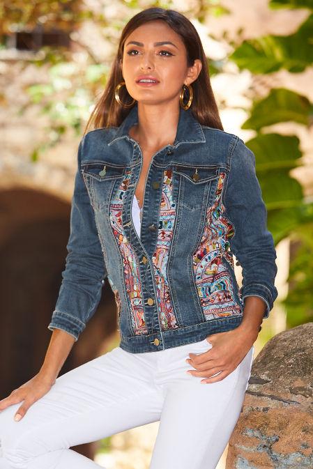Embroidered illusion denim jacket image