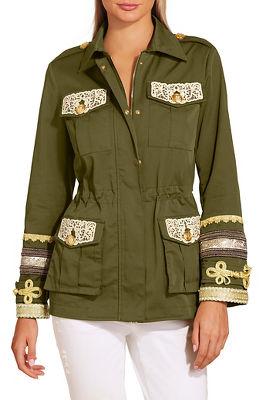 Gold embellished utility jacket