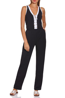 Display product reviews for Lace up sporty jumpsuit