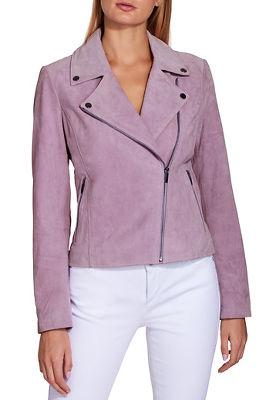Lavender suede moto jacket