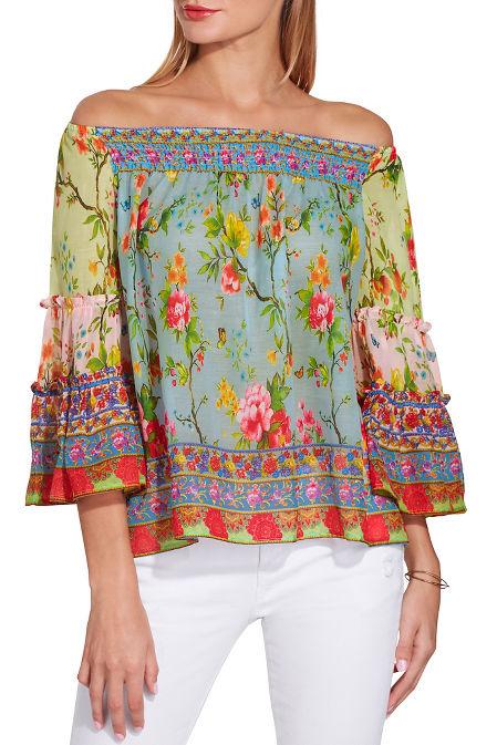90cb82da5698 Mixed Floral Off The Shoulder Blouse | Boston Proper