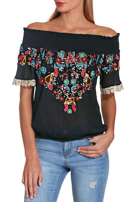 Off the shoulder gold trim embellished blouse image