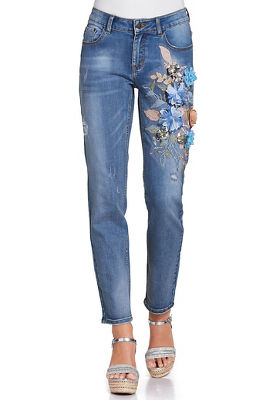 Display product reviews for 3D pale flower embellished jean