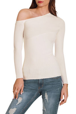 Display product reviews for Asymmetric sleeve ribbed sweater