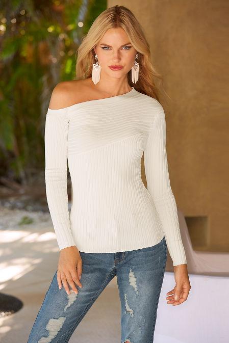 Asymmetric sleeve ribbed sweater image