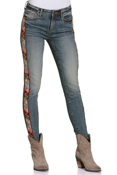 Aztec side stripe jean image